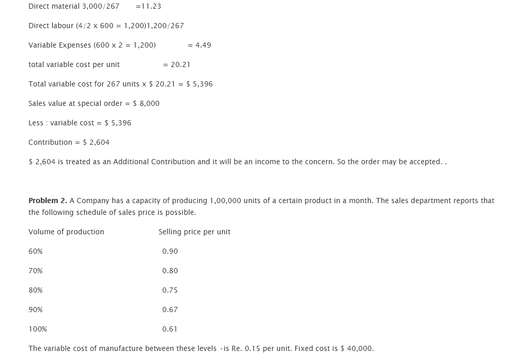 Test questions relevant cost for decision making 2