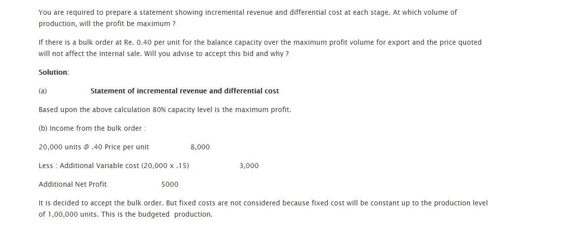 Test questions relevant cost for decision making 3